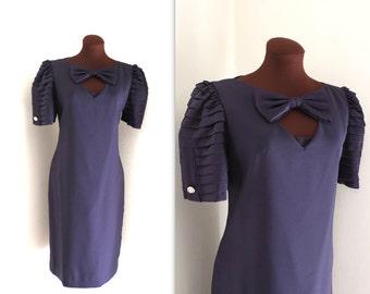 SALE 1980s Dress / Wiggle Dress / Armadillo Sleeves (m-l)