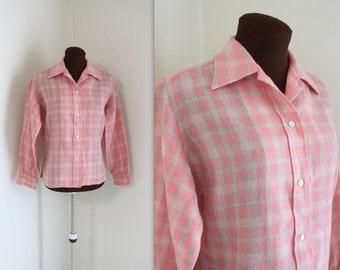 Pink Plaid / Irish Wool / 1970s Blouse (m)