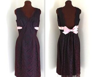 1960s Dress / Illusion Lace Dress / Cocktail Dress