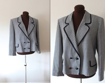 Vintage 1980's Jaeger Classic Checkered Blazer (xl)