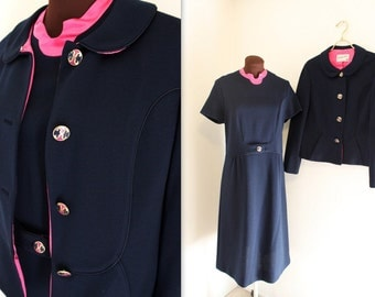 SALE 1960s Suit / Cropped Jacket / Wiggle Dress (m-l)