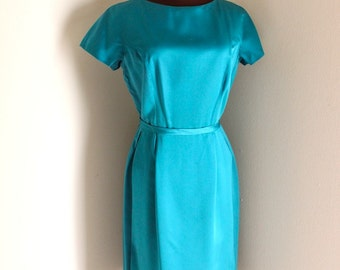 Vintage 1950's Peacock Cocktail Party Dress Bombshell Wiggle Dress (m-l)