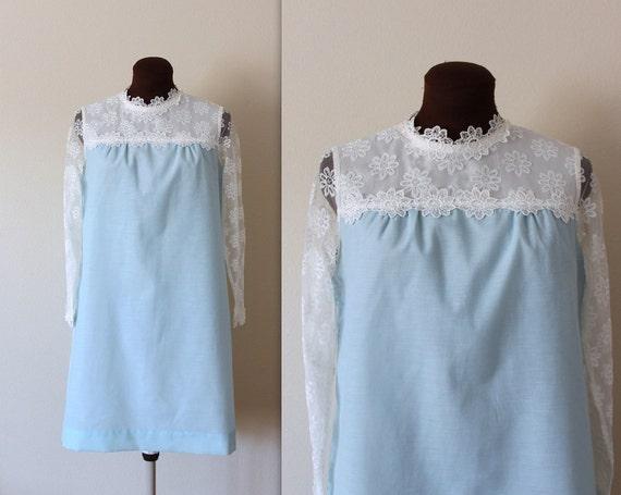 1970s Dress / Lolita Dress / Ice Blue Mini Dress