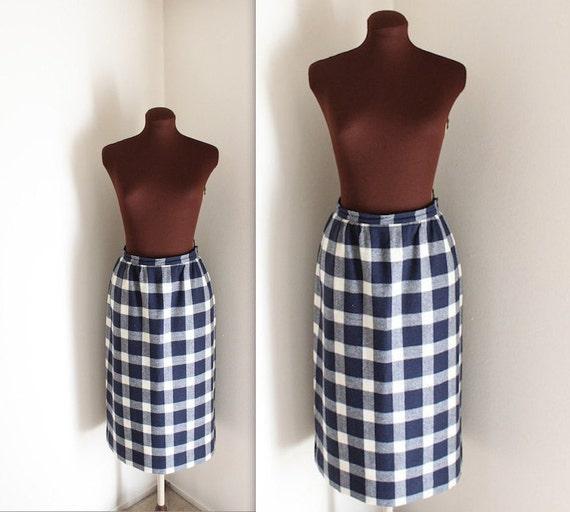 Pendleton Skirt / Wool Skirt / Plaid Checkered Skirt (m-l)