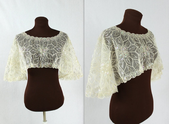 RESERVED Lace Wedding Capelet / Beaded Capelet / Sequined Cape