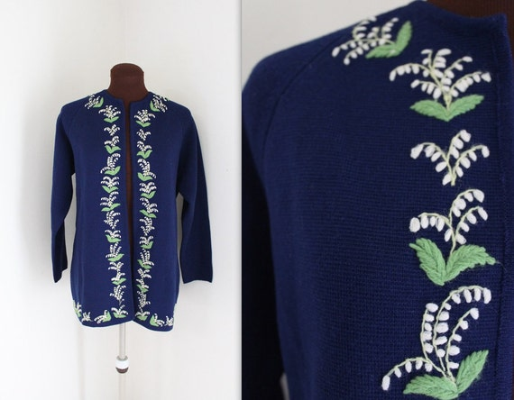 1960s Sweater / I Magnin Sweater / Embroidered Cardigan (m)