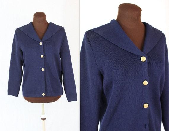 Nautical Cardigan / Navy Sweater / Sailor Cardigan (m-l)