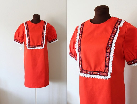 1970s Shift Dress / Folkloric Scooter Dress / NOS Dress