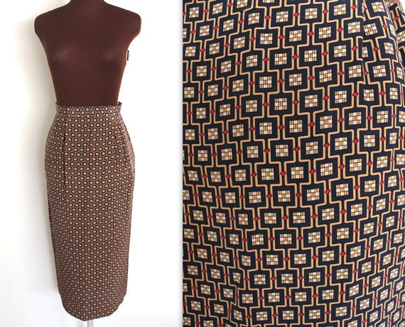 Scarf Print Skirt / Pencil Skirt / Silk Skirt  (s)