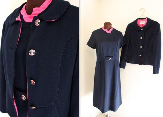 SALE 1960s Suit / Cropped Jacket / Wiggle Dress (m-l)