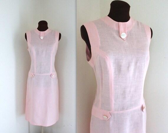 1960s Dress / Wiggle Dress / Linen Dress (m)