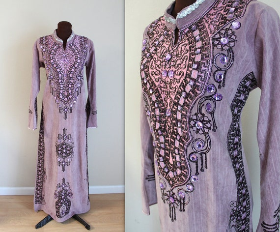 Bohemian Kaftan / 1970s Maxi Dress / Embroidered Caftan (m-l)