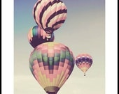 Hot air balloon childrens nursery art pink pastel photography 8x10