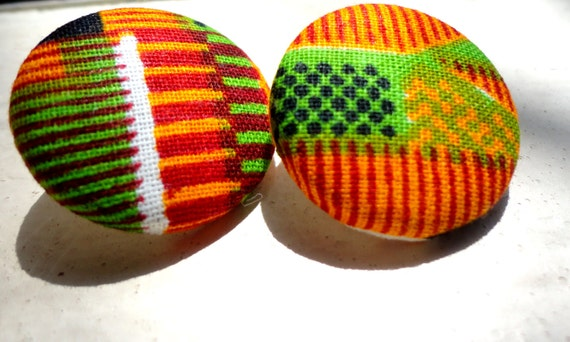 Large Kente Cloth Button Stud Earrings