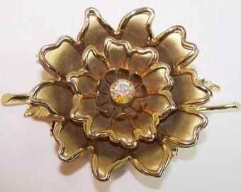 Coro Gold Metal Flower Brooch with Center Rhinestone