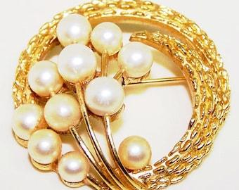 Trifari Faux Pearl Metal Floral Brooch