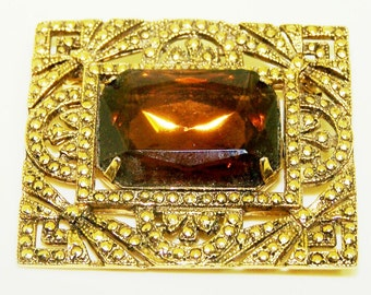 Rectangular Shaped Brooch with Large Amber Rhinestone