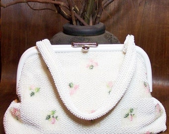Plastic Beaded Reversible Bag Floral Print
