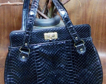 Black Snake Skin Bag Gold Hardware Unsigned
