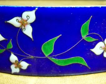 Blue Enamel Cloisonne & Floral Belt Buckle Unsigned