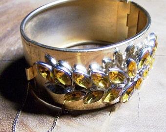 Amber Rhinestone Cuff Clamper Bracelet Unsigned
