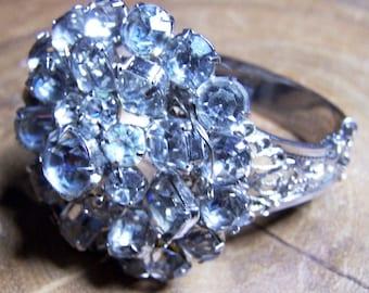 Upcycled Rhinestone Cuff Clamper Bracelet Signed Whiting & Davis