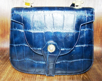 Blue Alligator Texture Leather Bag Signed Rosart