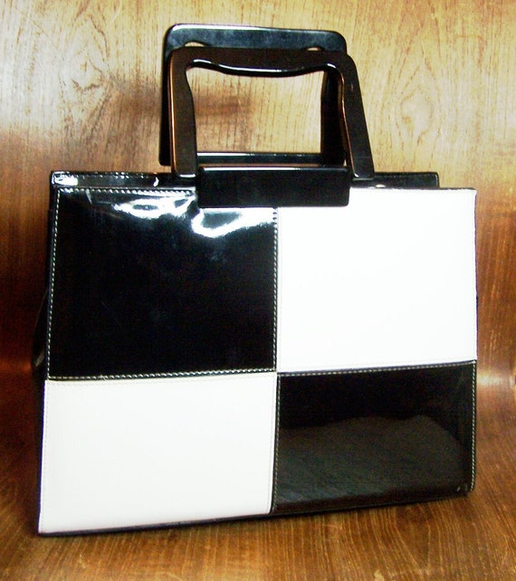 RESERVED FOR DEB Black White Checked Pattern Patent Leather Bag