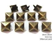 8mm Pyramid Studs BRASS