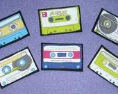 6 Retro Cassette Tapes No Sew Iron On Appliques Cotton Patches