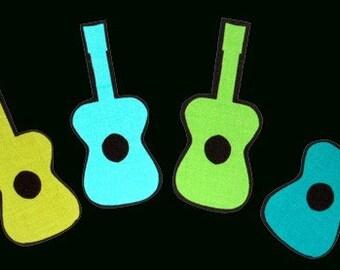SALE! 12 Guitars No Sew Iron On Appliques Cotton Patches Retro
