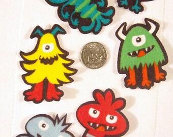 SALE! 12 Piece Monsters Alien Bug No Sew Iron On Appliques Cotton Flannel Patches Retro