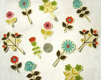 Set of 12 Flowers Roses Daisies No Sew Iron On Appliques Blue Red