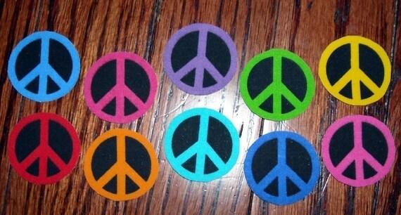 10 Pc Retro Peace Signs No Sew Iron On Appliques Cotton Patches