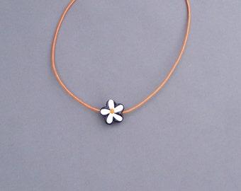 Orange Flower Glass Bead Necklace