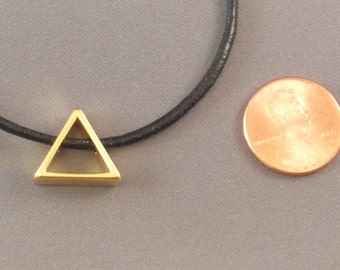 Gold Plated Triangle on Black Leather Cord