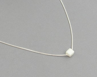 White Cube Bead Necklace