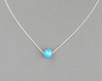 Lt Blue Round Glass Bead Necklace