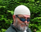 Ships Immediately! Mens Cotton Cooling Cap Crocheted in Oatmeal