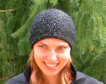 Crochet Beanie Hat in Sassy Black Sparkle