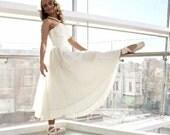 Vintage 50s White Cream Tulle Formal Prom Wedding Garden Party Dress, Strapless Soft Net Tuft Sweetheart Shelf Bust, Marilyn Monroe, XS/S