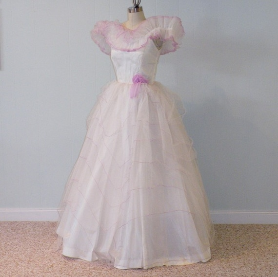 RESERVED 70s Lizette Creations White Tulle Southern Belle Full Length Formal Party Wedding Dress, Purple Flower, Ruffled Off Shoulder Bodice