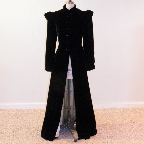 Reserved 1920s 20s Black Velvet Opera Coat Cloak, Full Length, Puffed Sleeves, Fit-n-Flare, Kessenichs, Art Deco, Avant Garde