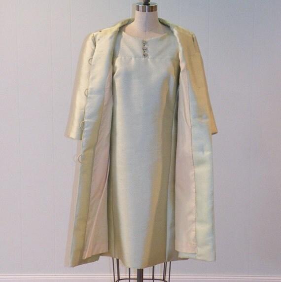 Vintage 60s Dress Set, Pale Green Silk Shantung Formal Cocktail Wedding Party Dress Jacket Suit Set, Jefri Fashion, Jackie-O, Career Girl