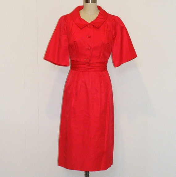 HOLD Vintage 50s Dress Set, Red Taffeta Formal Cocktail Wiggle Holiday Party Dress Cropped Bolero Set, Bombshell Chic, Jr. Theme New York