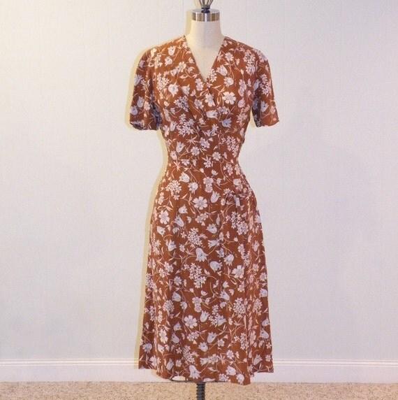 1940s Dress, Mocha Brown Pale Blue & Pink Floral Tulips Print Silk Cocktail Garden Party Dress, Draped Skirt Detail