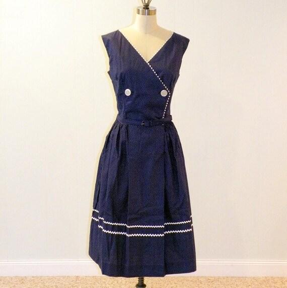 Vintage 50s Dress 60s Dress, Dark Blue & White Dotted Cotton Sun Dress, Wrap Bodice, Rick-Rack Trim, Belted Waist, Full Skirt, Bill Sims