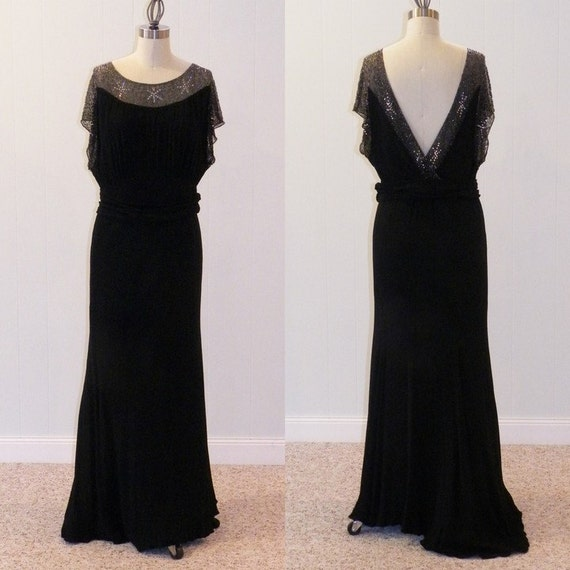 1930s Dress, Black Bias Cut Full Length Hollywood Starlet Evening Gown, Heavily Beaded Rhinestone Bodice & Plunging Open Back, Under Slip