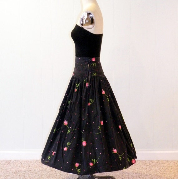 Layaway for Connie, Vintage 50s Circle Skirt, Black & Pink Floral Roses and Polka Dots Cotton Circle Skirt, Rockabilly Swing