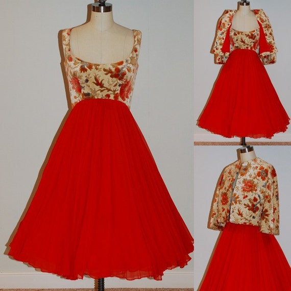 1960s Arnold Scaasi Dress & Bolero Set, 60s Red Chiffon Floral Tapestry Formal Cocktail Wedding Party Evening Dress Bolero Jacket, Bombshell
